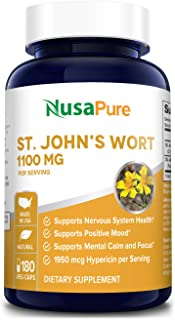 St. John's Wort 1100mg 180 Veggie Capsules (Non-GMO & Gluten Free) 1950mcg Hypericin Saint Johns Wort for Mood, Anxiety & Depression Support (550mg per Capsule)