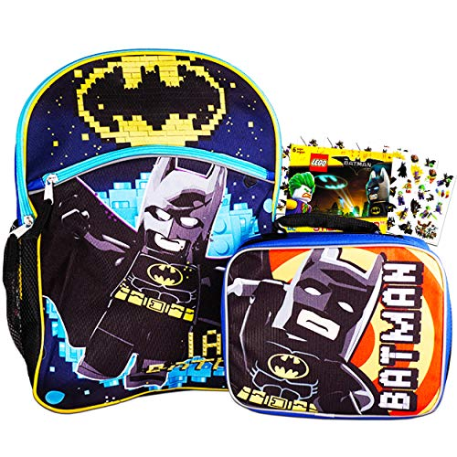 Lego Batman Backpack and Lunch Box for Boys Kids Bundle with Stickers (Lego School Supplies)