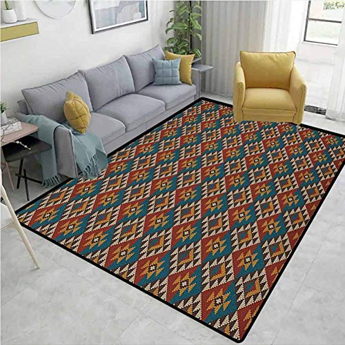 Why Choose YucouHome Native American Polka Dot Area Rug Non Slip Pad, Knitted Seem Jacquard View Fab...