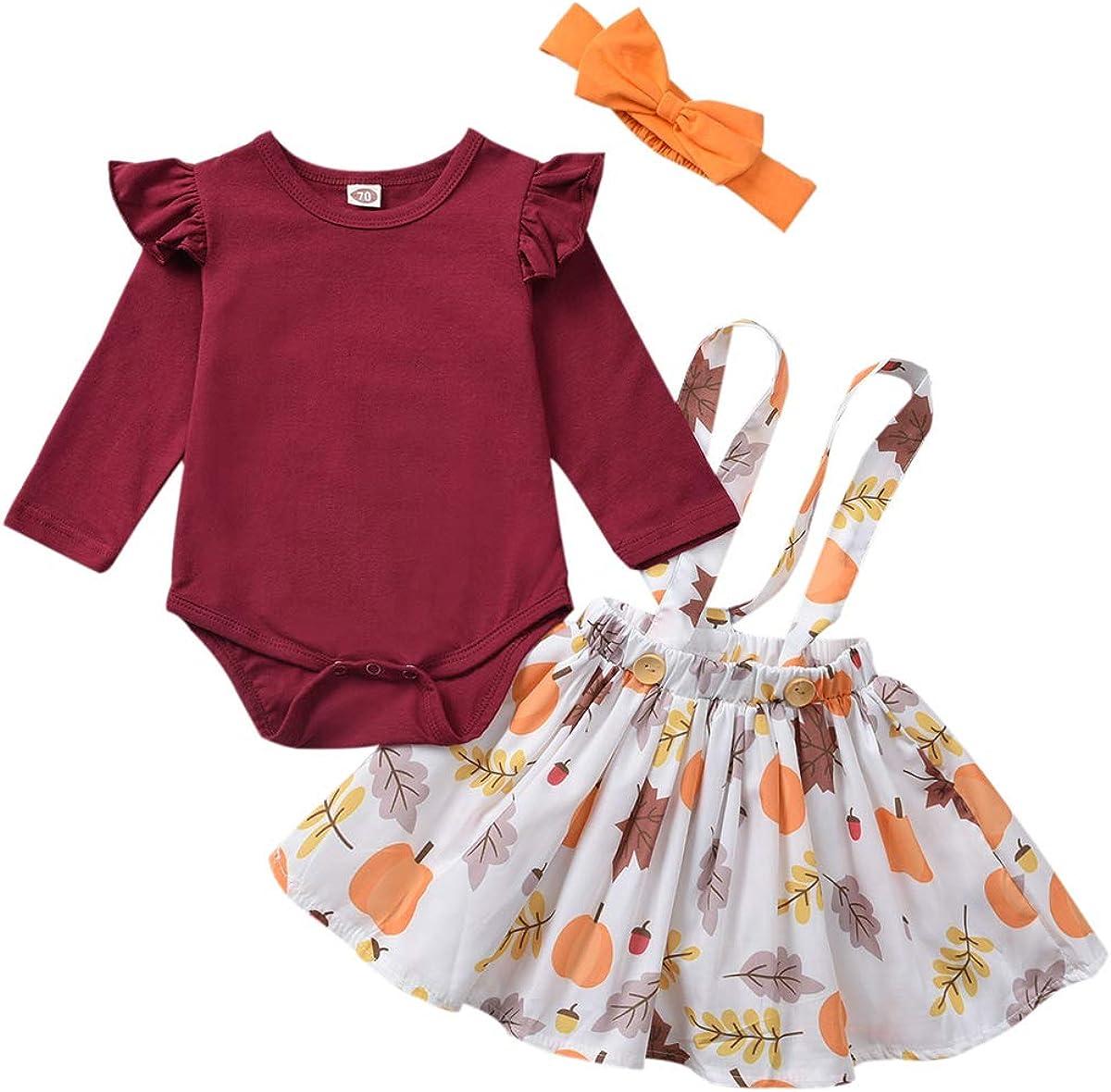 Newborn Baby Girls Halloween/Thanksgiving Clothes Long Sleeve Romper + Pumpkin Print Strap Dress + Headband Skirt Set