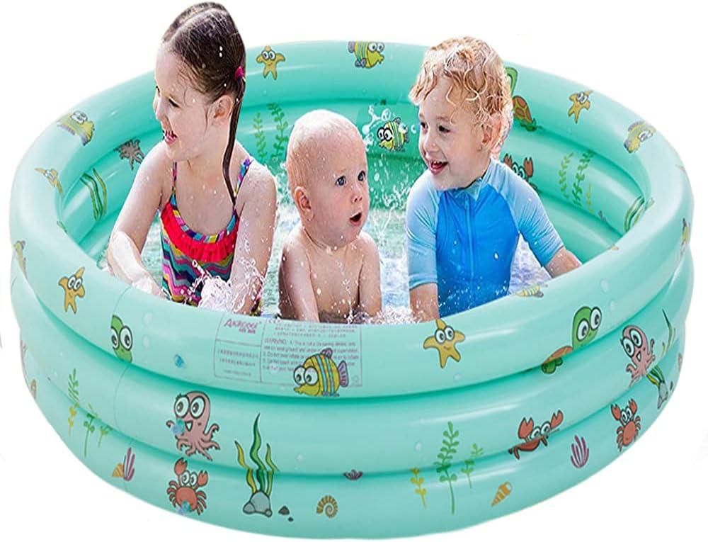 FANIER Piscina Hinchable para niño, Redonda Piscina Inflable Hinchable bañera Hinchable para jardín, 3 Cámara de Aire Individuales, 100 cm de diámetro, 38 cm de Altura,Verde