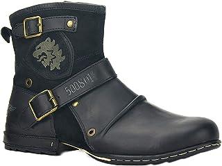 osstone Moto Botte Hommes Rivet Boot Bottes Vintage Cheville Hiver Boot Casual Cowboy Chaussures OZ-5008-1…