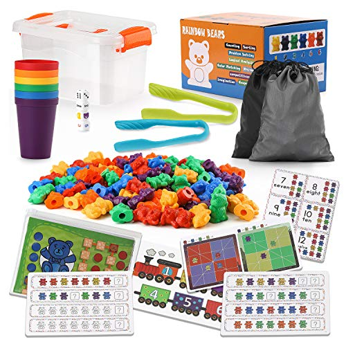 NONZERS Counting Bears with Matching Sorting Cups STEM Educational Toy Math Games for Toddler, 118pcs Pre-School Learning Toy Set with Activity Cards, 90 Bears, Tweezers, Storage Box, Dice
