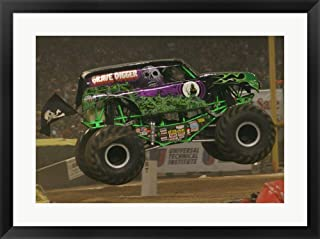 Grave Digger Monster Truck Framed Art Print Wall Picture, Black Frame, 31 x 23 inches
