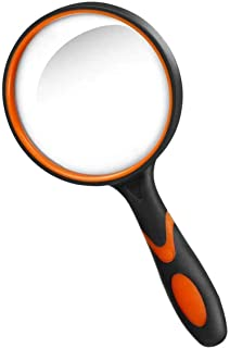 DELFINO Magnifying Glass Handheld Reading Magnifier 10X with Non-Slip Soft Rubber Handle for Reading, Close Work, Science,...