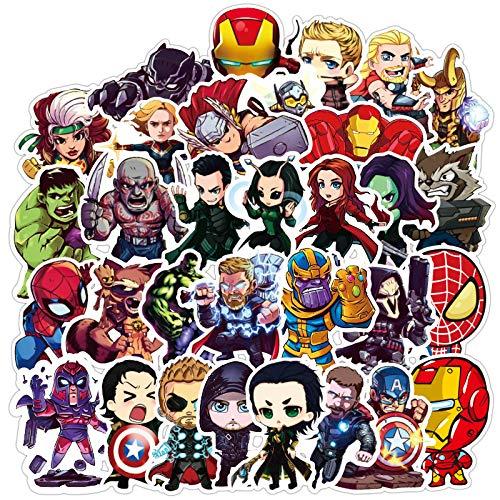 LZWNB Marvel superhéroes Vengadores Pegatinas Impermeable Ordenador portátil Equipaje decoración Pegatinas 100 Hojas