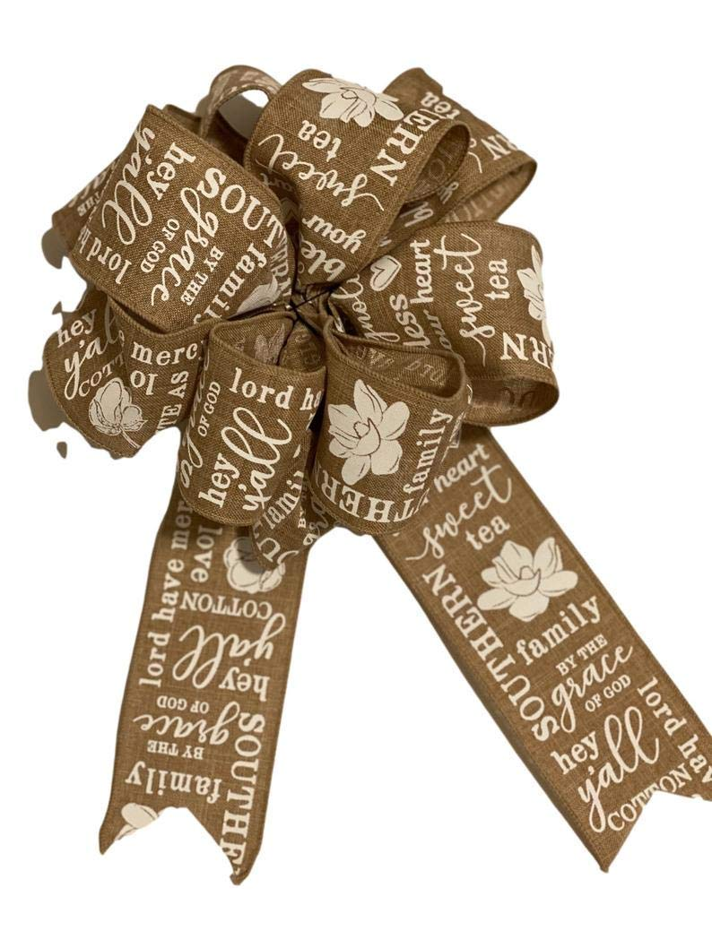 Large- Beige White Southern Max 49% OFF Sayings - for Mesa Mall Bow Add On Magnolia