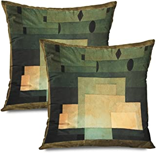 Ahawoso Set of 2 Throw Pillow Covers Square 18x18 Fine Firmament Above by History Paul Spatial Circle Ink Illusion Klee Squares Watercolor Diamonds Zippered Pillowcases Home Decor Cushion Cases