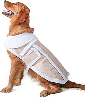 MAZORT Shearling Fleece Dog Winter Coat Pet Faux Sherpa Suede Cozy Pet Jacket Outwear for Small Medium Large Dog