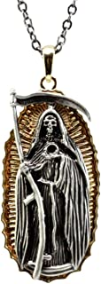 Ebros Gift Day of The Dead Santa Muerte Pewter Necklace Our Lady of Holy Death Lead Free Gold Plated Accessory Jewelry