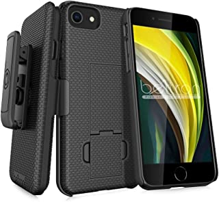 Beltron Funda para iPhone 7/8/SE 2020, funda de agarre de goma superdelgada y clip giratorio para cinturón combo con sopor...