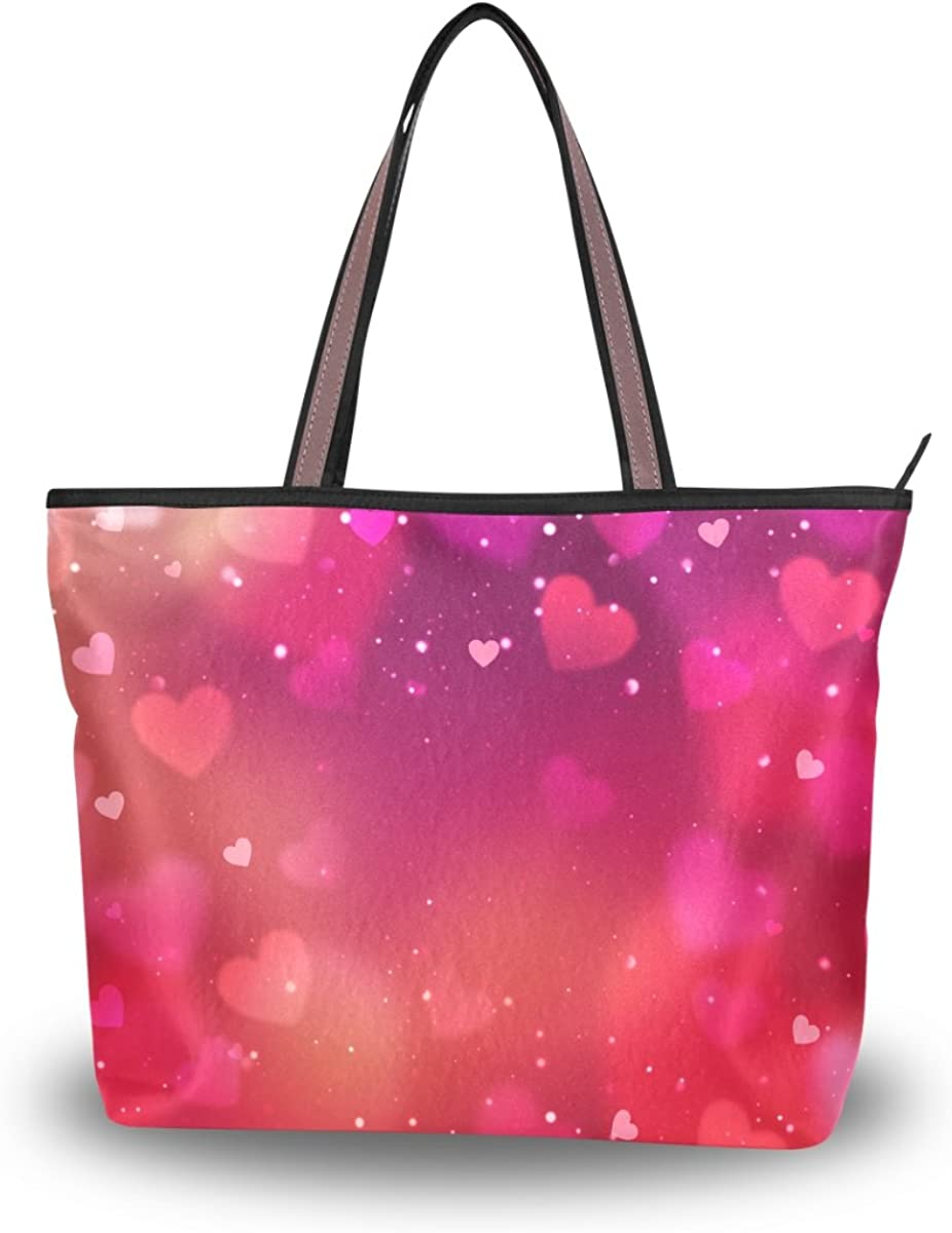 JSTEL Women Large Tote Top Handle Shoulder Bags Valentine's Day Abstract Hearts Patern Ladies Handbag