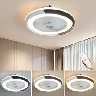 WJJH Ventilador de Techo LED Lámpara Minimalista Moderna de la lámpara de Techo Ventilador Regulable Fan Redonda Ultra silencioso Dormitorio Ahorro de energía y Sala de Estar Luces,Negro
