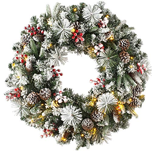 WeRChristmas Luxury Pre-Lit Snow Flocked Wreath with 50 LED Lights & Timer Function, Multi-Colour, 2.5 feet/75cm