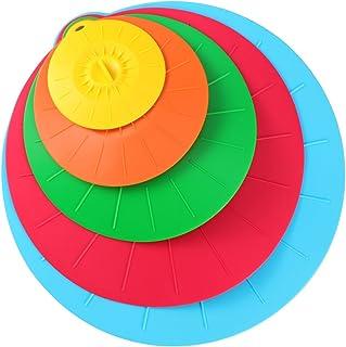 OUNONA 5 Piezas de Tapa de Silicona de Cocina Cubierta de Sarten Taza Olla para Sello Hermético (Color Surtido 1)