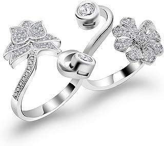 metalmadman 2 Finger Ring for Women Flower Whispers BlossomWedding Engagement Promise Ring Bands & Adjustable Wrap Open Ring