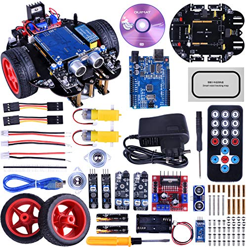 Quimat Smart Robot Car Kit Kompatibel mit ArduinoIDE mit Board Mikrocontroller, Line-Tracking Modul, Ultraschallsensor, Bluetooth-Modul, Spielzeug für Kinder mit Tutorial(Upgrade-Version)