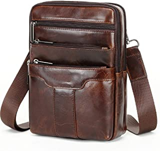 "Leather Crossbody Bags for Men,Travel Shoulder Bag,Mens Cross Body,Messenger Satchel Boasts Brass Hardware,9.7""iPad Pocket"