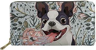 Woisttop - Portafoglio da donna in pelle con motivo animale, lungo portamonete e porta carte