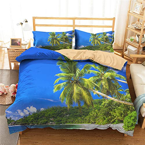 3D Beach Landscape Sea Copripiumino 200x200 Biancheria da Letto Sand Palm Trees Set Piumino Estivo Queen King Twin Full Size Microfibra per Kid Girl Adulto,Double(200*200)
