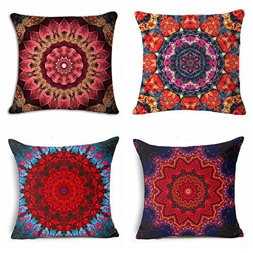 Diseño de mandala de flores de Bohemian estilo étnico de colores funda de cojín cuadrado de lino y algodón manta funda de almohada de oficina en casa sofá silla decorativa juego de 4