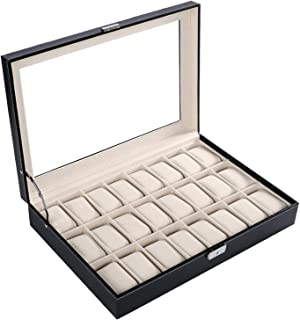 24 Piece Wooden Watch Organizer Box