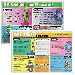 Image: Painless Learning Educational Placemats Sets Metric System and US Weights and Measures Placemat Non Slip Washable