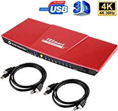 TESmart 4K 4x1 KVM Switch HDMI 4 Ports 3840x2160@30Hz with 2 Pcs 5ft KVM Cables Supports USB 2.0 Device Control up to 4 Computers/Servers/DVR, Aluminum Alloy Case 4 Input 1 Output HDMI KVM Switcher