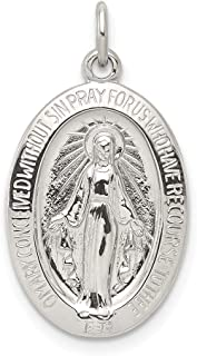 925 Sterling Silver Miraculous Medal Pendant Charm Necklace Religious Fine Jewelry For Women Gifts For Her
