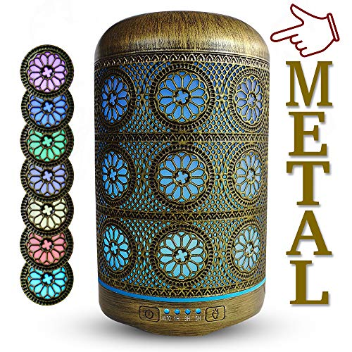 Aroma Duftöl Diffuser Luftbefeuchter Metall |AidA| für ätherische Öle, Ultraschall Raumduft 250 Milliliter Essenzen Aromatherapie mit 7 Farben