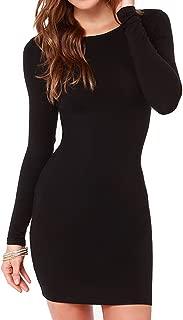 Women's Knit Color Block Long Sleeve Slim Fit Sweater Dress Sexy Short Dress