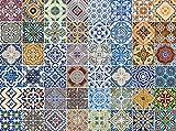 FLFK Autoadhesivo de Cemento Baño Cocina Pared portugueses Azulejos Pegatinas – 20 x 20 cm –48 Piezas