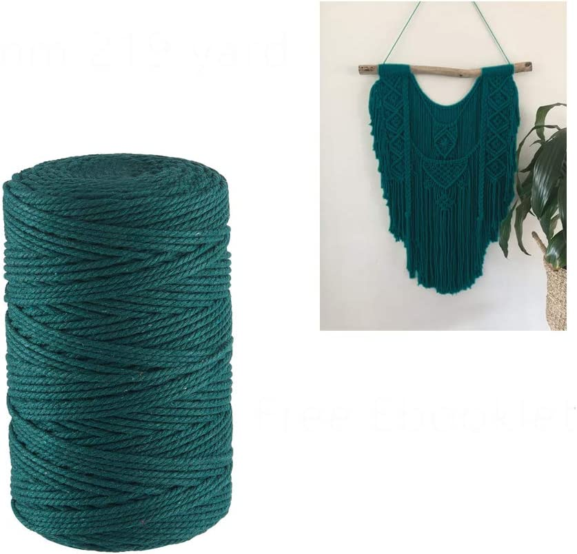 Macrame Cord 3mm Dark Tucson Mall Teal 219 Yards Sale item Strand Twisted Co Cotton 3