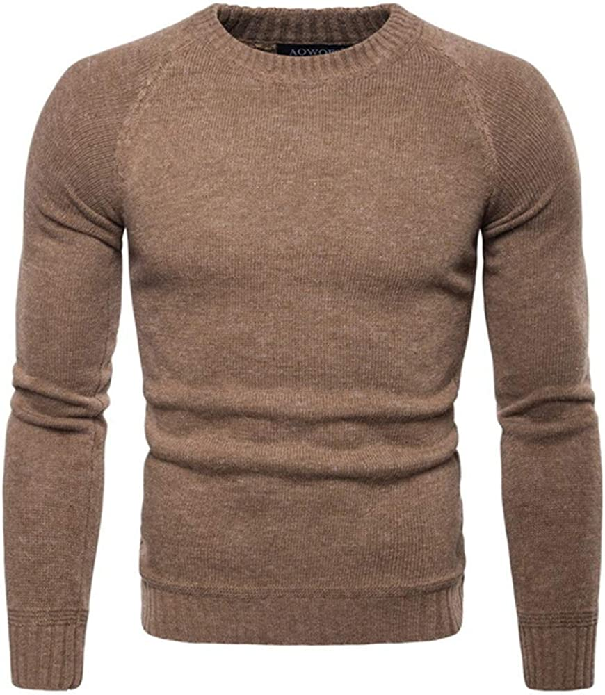Mens Classic Raglan Sleeve Sweat Knitted Pullover Long-Sleeved Slim Fit Fitted Sweatshirt Pullover with Long Sleeves