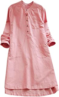 Women Retro Dresses Long Sleeve O-Neck Casual Loose Button Tops Blouse Solid Mini Shirt Dress Plus Size