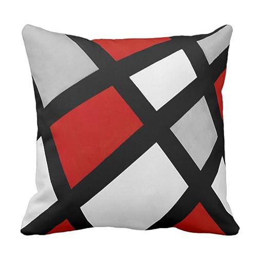 48d5235d85b1b Emvency Throw Pillow Cover Stripes Acrylic Red Gray Black White Modern  Decorative Pillow Case Home Decor
