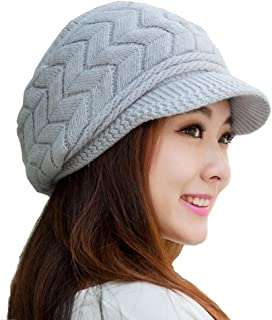 HINDAWI Women Winter Warm Knit Hat Wool Snow Ski Caps with Visor