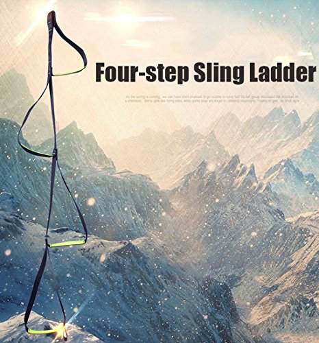 4-Step Etrier Webbing Ladder Climbing Strap Ladder Rope Ladder Step Hanging Rope for Climbing Caving Rescue Rock