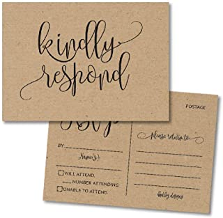 25 Blank Rustic RSVP Cards, Response Postcard Kindly Reply Kraft Card Stock for Weddings, Bridal Rehearsal Dinner, Baby Shower, Birthday, Bachelorette Party Invitation Kits No Envelopes Needed