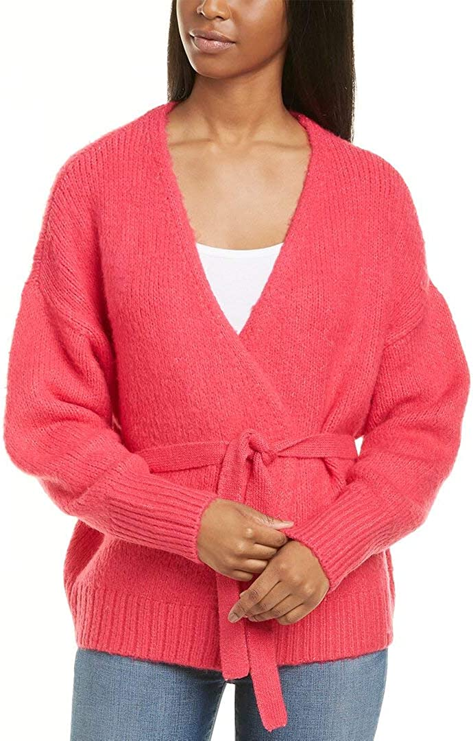 1.STATE Womens Belted Jersey Strich Cardigan Sweater Pink XXS