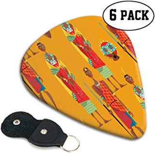 Couple Maasai Traditional Dress Seamless Cute Guitar Picks Antique Guitar Pick 6 Pack Heavy 0.46 MM Gift For Bass,electric & Acoustic Guitars
