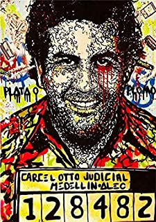 zzjart HD Printed Oil Paintings Home Wall Decor Art On Canvas Alec Monopoly Pablo Escobar 12x18x1inch #501 (Framed)