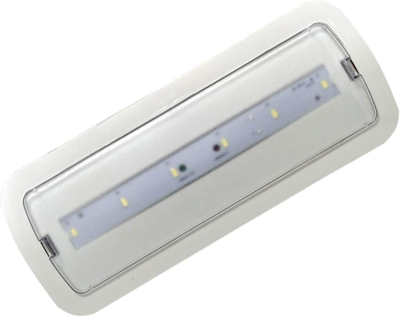 Pack 2x Luz de Emergencia LED empotrable o superficie 3W, 200 Lumenes. 3 Horas de Autonomía. Color Blanco Frío (6500K).