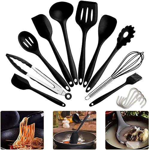 IdealHouse Ustensiles de Cuisine Spatules en Silicone Résistant à la Chaleur Spatule (10 Noir)
