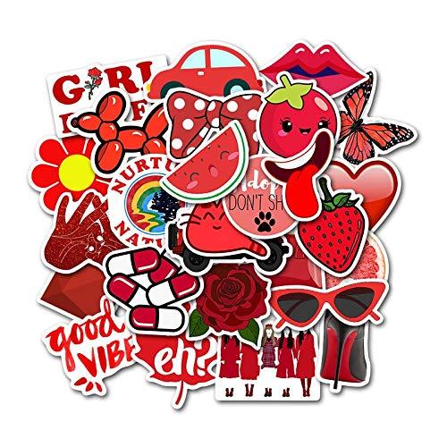 PMSMT AufkleberAufkleberSkateboard 50pcs rot kleine frische Koffer Trolley Fall Laptop Graffiti Aufkleber wasserdicht Aufkleber MTZ025-67