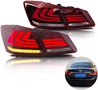 MOSTPLUS RED Clear LED Brake Tail Lights for 2013-2015 Honda Accord 4 Door Sedan Set of 2