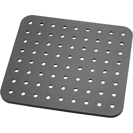 WENKO Fond d'évier Kristall noir - carré, Plastique, 27.5 x 1 x 31 cm, Noir