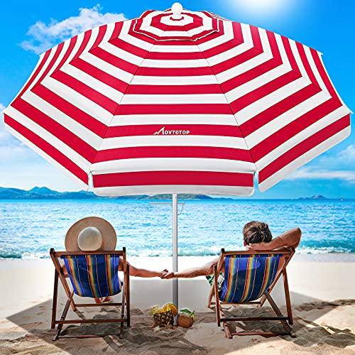 MOVTOTOP 200cm Sonnenschirm, UV 50+ Schutz Sonnenschirm Strand, Rostfrei Marktschirm mit Kippbarer Aluminiumstange, Gestreifter Strandschirm, Gartenschirm für Balkon, Terrasse, Garten