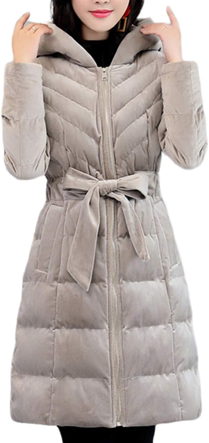 Uaneo Women's Mid Long Casual Slim Zipper Up Quiltd Padded Hoodie Parkas Jackets(Grey-XS)