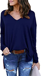 kenoce Women's Long Sleeve T-Shirt Casual Solid V Neck Blouse Shirts Loose Fit Tunic Tops